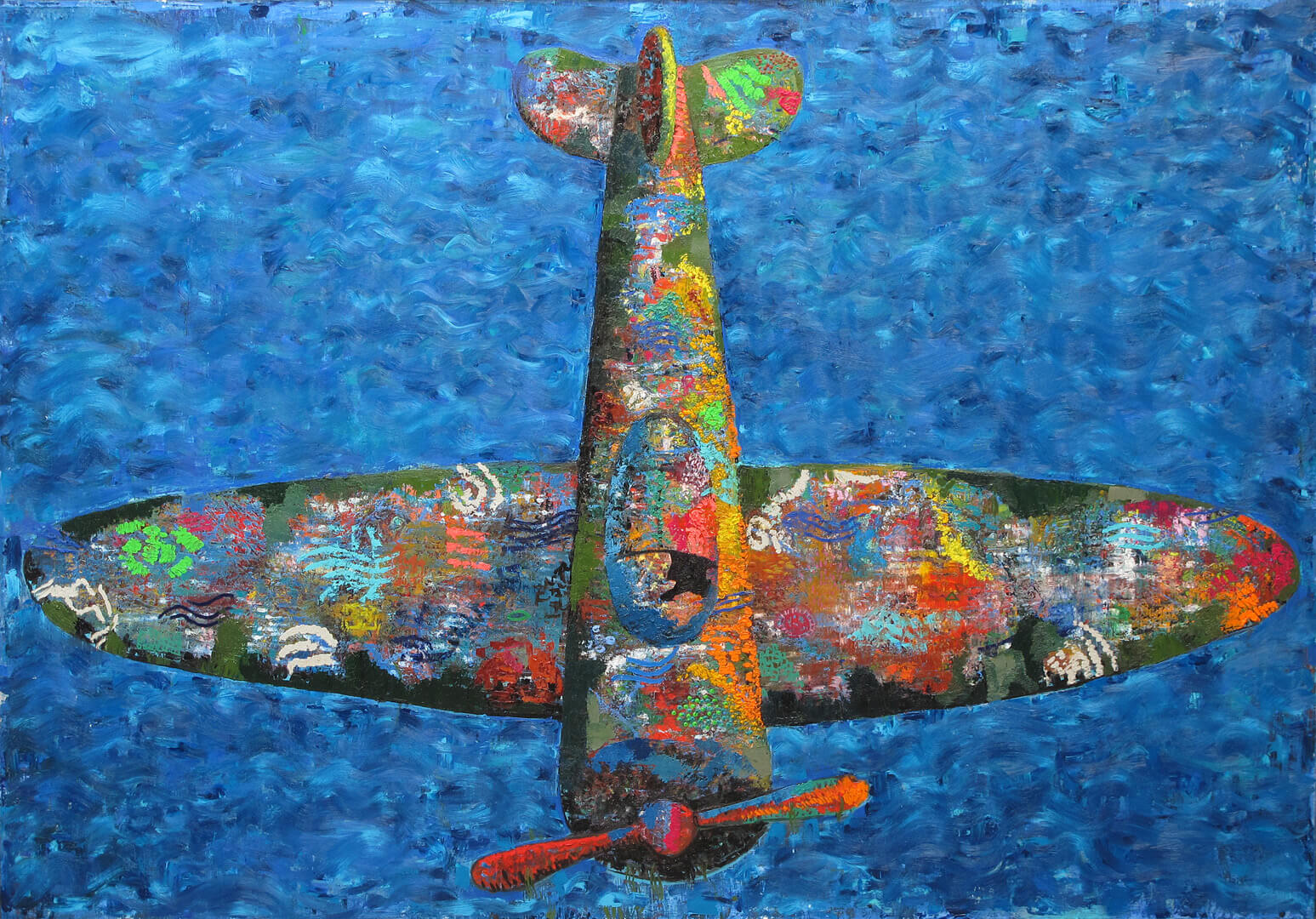 Airplane, oil on canvas, 150 x 215 cm, 2017.